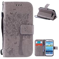 Embossing Butterfly Tree Leather Wallet Case for Samsung Galaxy S3 - Grey