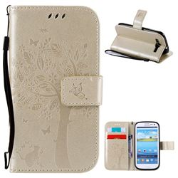 Embossing Butterfly Tree Leather Wallet Case for Samsung Galaxy S3 - Champagne
