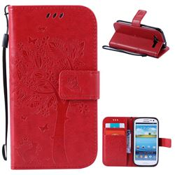 Embossing Butterfly Tree Leather Wallet Case for Samsung Galaxy S3 - Red