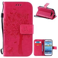 Embossing Butterfly Tree Leather Wallet Case for Samsung Galaxy S3 - Rose
