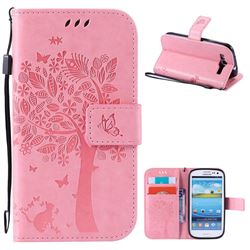 Embossing Butterfly Tree Leather Wallet Case for Samsung Galaxy S3 - Pink