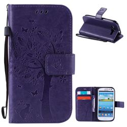 Embossing Butterfly Tree Leather Wallet Case for Samsung Galaxy S3 - Purple