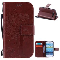 Embossing Butterfly Tree Leather Wallet Case for Samsung Galaxy S3 - Brown