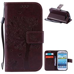 Embossing Butterfly Tree Leather Wallet Case for Samsung Galaxy S3 - Coffee