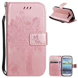 Embossing Butterfly Tree Leather Wallet Case for Samsung Galaxy S3 - Rose Pink