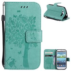 Embossing Butterfly Tree Leather Wallet Case for Samsung Galaxy S3 - Cyan