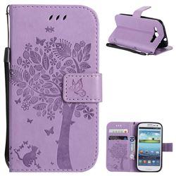 Embossing Butterfly Tree Leather Wallet Case for Samsung Galaxy S3 - Violet