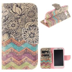 Wave Flower PU Leather Wallet Case for Samsung Galaxy S3