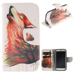 Color Wolf PU Leather Wallet Case for Samsung Galaxy S3