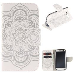 White Flowers PU Leather Wallet Case for Samsung Galaxy S3