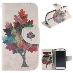 Colored Tree PU Leather Wallet Case for Samsung Galaxy S3