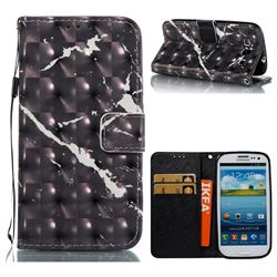 Black Marble 3D Painted Leather Wallet Case for Samsung Galaxy S3