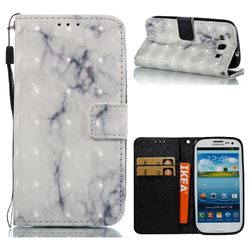 White Gray Marble 3D Painted Leather Wallet Case for Samsung Galaxy S3