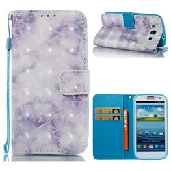 Green Gray Marble 3D Painted Leather Wallet Case for Samsung Galaxy S3