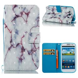 White Purple Marble 3D Painted Leather Wallet Case for Samsung Galaxy S3