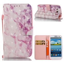 Pink Marble 3D Painted Leather Wallet Case for Samsung Galaxy S3