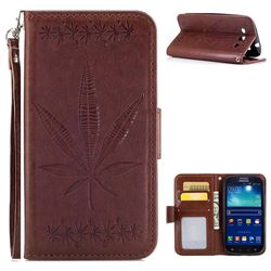 Intricate Embossing Maple Leather Wallet Case for Samsung Galaxy S3 - Brown
