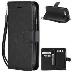 Retro Greek Classic Smooth PU Leather Wallet Phone Case for Samsung Galaxy S3 - Black