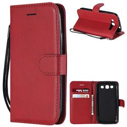 Retro Greek Classic Smooth PU Leather Wallet Phone Case for Samsung Galaxy S3 - Red