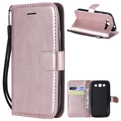 Retro Greek Classic Smooth PU Leather Wallet Phone Case for Samsung Galaxy S3 - Rose Gold