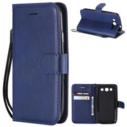 Retro Greek Classic Smooth PU Leather Wallet Phone Case for Samsung Galaxy S3 - Blue