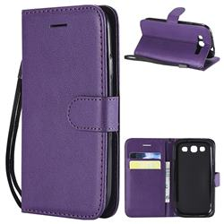 Retro Greek Classic Smooth PU Leather Wallet Phone Case for Samsung Galaxy S3 - Purple