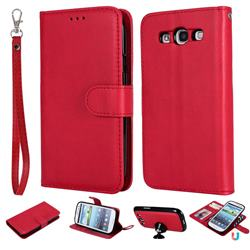 Retro Greek Detachable Magnetic PU Leather Wallet Phone Case for Samsung Galaxy S3 - Red