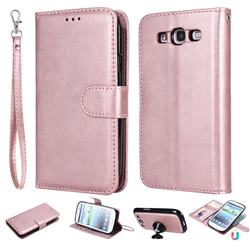 Retro Greek Detachable Magnetic PU Leather Wallet Phone Case for Samsung Galaxy S3 - Rose Gold