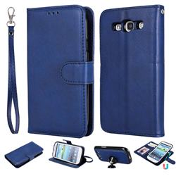 Retro Greek Detachable Magnetic PU Leather Wallet Phone Case for Samsung Galaxy S3 - Blue