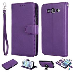 Retro Greek Detachable Magnetic PU Leather Wallet Phone Case for Samsung Galaxy S3 - Purple