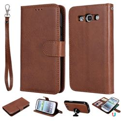 Retro Greek Detachable Magnetic PU Leather Wallet Phone Case for Samsung Galaxy S3 - Brown