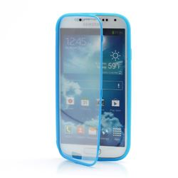 TPU Flip Cover with Transparent PC Screen Cover for Samsung Galaxy S4 i9500 i9502 i9505 - Blue