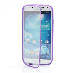 TPU Flip Cover with Transparent PC Screen Cover for Samsung Galaxy S4 i9500 i9502 i9505 - Purple