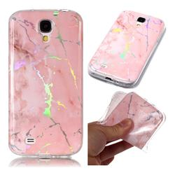 Powder Pink Marble Pattern Bright Color Laser Soft TPU Case for Samsung Galaxy S4