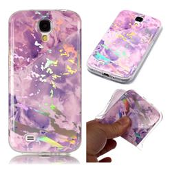 Purple Marble Pattern Bright Color Laser Soft TPU Case for Samsung Galaxy S4