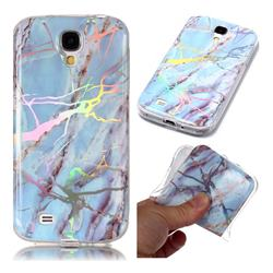 Light Blue Marble Pattern Bright Color Laser Soft TPU Case for Samsung Galaxy S4