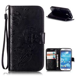 Embossing Butterfly Flower Leather Wallet Case for Samsung Galaxy S4 - Black