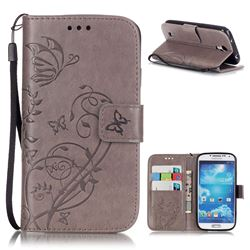 Embossing Butterfly Flower Leather Wallet Case for Samsung Galaxy S4 - Grey