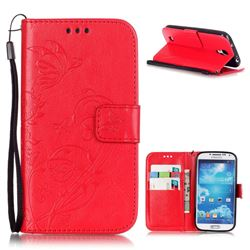 Embossing Butterfly Flower Leather Wallet Case for Samsung Galaxy S4 - Red