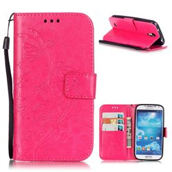 Embossing Butterfly Flower Leather Wallet Case for Samsung Galaxy S4 - Rose