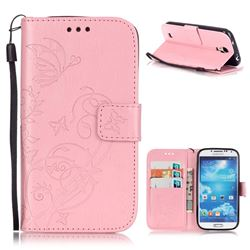 Embossing Butterfly Flower Leather Wallet Case for Samsung Galaxy S4 - Pink