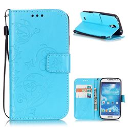 Embossing Butterfly Flower Leather Wallet Case for Samsung Galaxy S4 - Blue