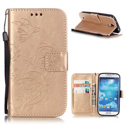 Embossing Butterfly Flower Leather Wallet Case for Samsung Galaxy S4 - Champagne