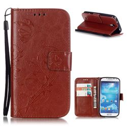 Embossing Butterfly Flower Leather Wallet Case for Samsung Galaxy S4 - Brown