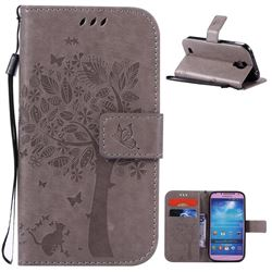 Embossing Butterfly Tree Leather Wallet Case for Samsung Galaxy S4 - Grey