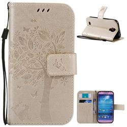 Embossing Butterfly Tree Leather Wallet Case for Samsung Galaxy S4 - Champagne