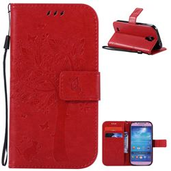 Embossing Butterfly Tree Leather Wallet Case for Samsung Galaxy S4 - Red