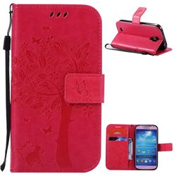 Embossing Butterfly Tree Leather Wallet Case for Samsung Galaxy S4 - Rose