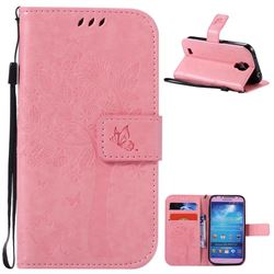 Embossing Butterfly Tree Leather Wallet Case for Samsung Galaxy S4 - Pink