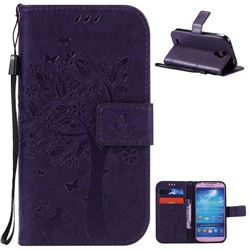 Embossing Butterfly Tree Leather Wallet Case for Samsung Galaxy S4 - Purple